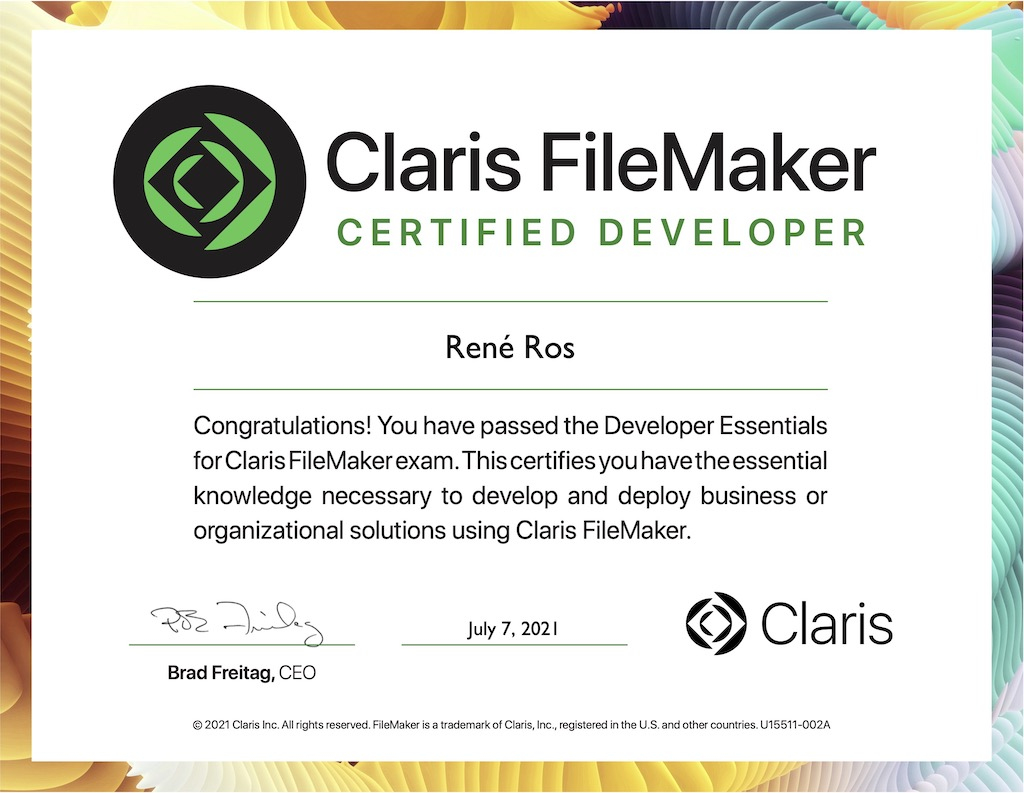 FileMaker 16 Certified Developer